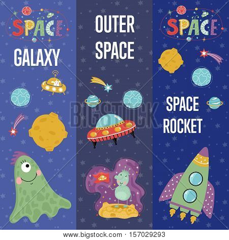 Outer space, galaxy, aliens cartoon banners. Funny alien character, flying saucer, rocket, star, planet, comet vector illustration on blue background set.