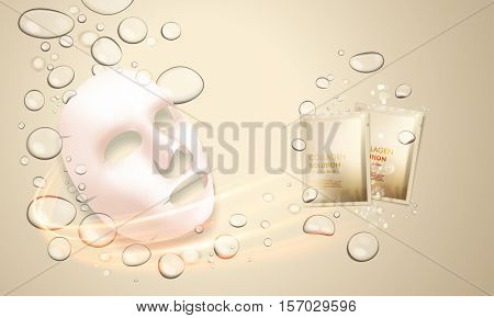 3D facial mask with sachet of collagen hydration moisturizer. Face skincare premium ad design template. Gold water, oil drops background. Vector illustration