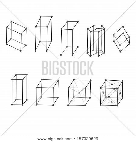 Illustration of different types of crystal lattices of crystals and metals
