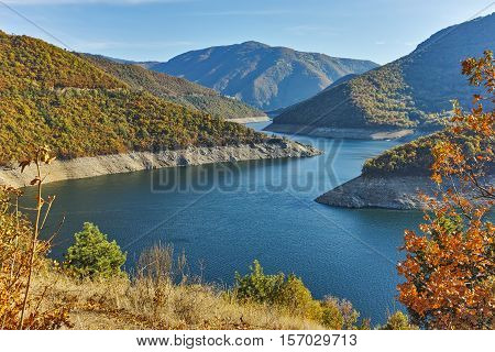 Autumn view of Dam of the Vacha (Antonivanovtsy) Reservoir, Rhodopes Mountain, Bulgaria