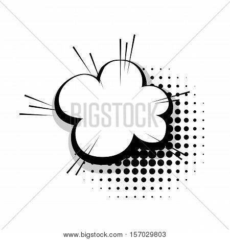 Blank template comic speech cloud line bubble halftone dot background style pop art. Comic dialog empty cloud, space text style pop art. Creative composition idea conversation comic sketch explosion