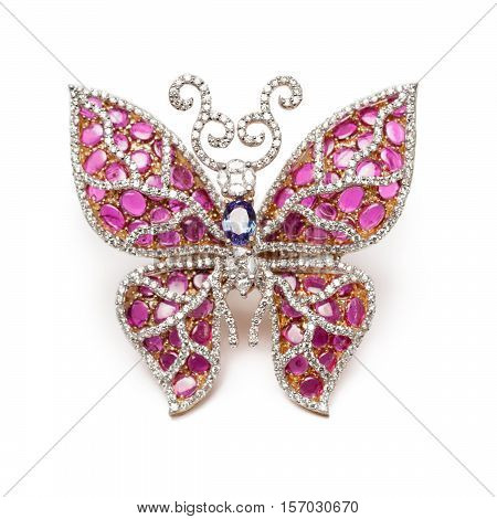 Close up of beautiful Diamond Ring like butterfly , with many different precious Gemstone over white background