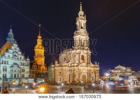 Dresden Cathedral of the Holy Trinity or Hofkirche, Dresden Castle or Royal Palace and Semperoper at night in Dresden, Saxony, Germany