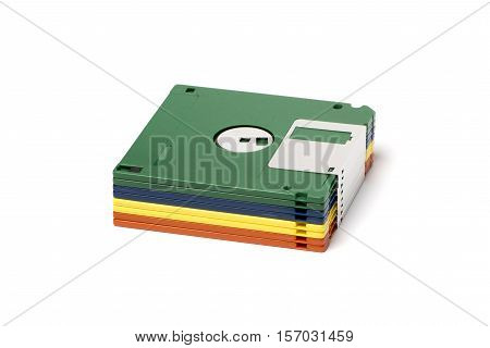 Stack of floppy disks isolated on white backgroun