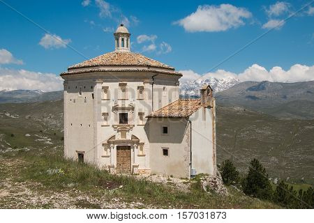 Rocca Calascio a mountaintop fortress or rocca in the province of l'aquila in abruzzo italy.