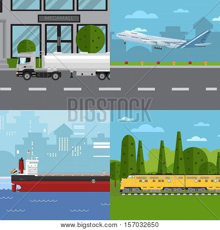 Air cargo trucking, rail transportation, maritime shipping and road trucking vector illustrations. Worldwide delivery of goods logistics and transportation. Support international trade set