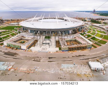 Aerial view of the construction of the Zenith arena