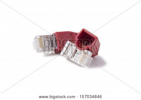 ethernet connectors RJ45 6 category with a red caps on a white background