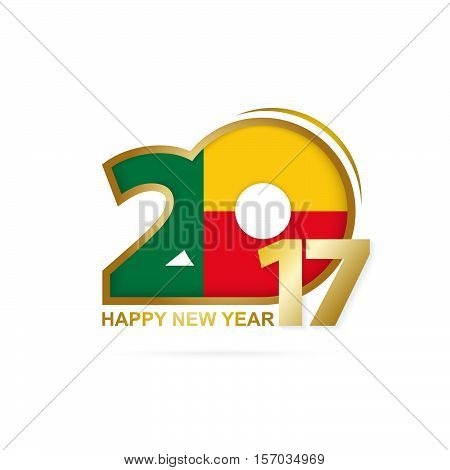 Year 2017 With Benin Flag Pattern. Happy New Year Design On White Background.