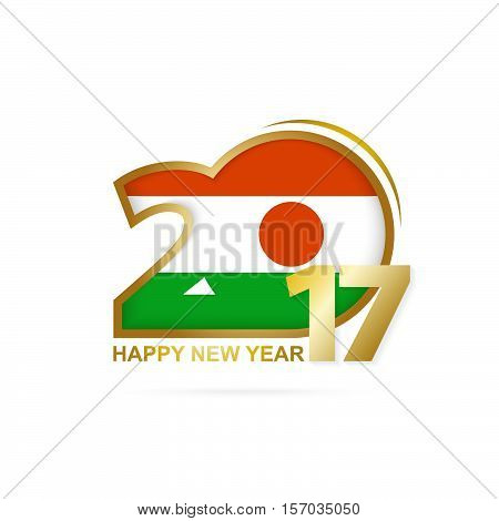 Year 2017 With Niger Flag Pattern. Happy New Year Design On White Background.