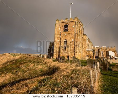 WHITBY ENGLAND - NOVEMBER 5: St Mary's Church with a storm approaching. In Whitby North Yorkshire England. On 5th November 2016.