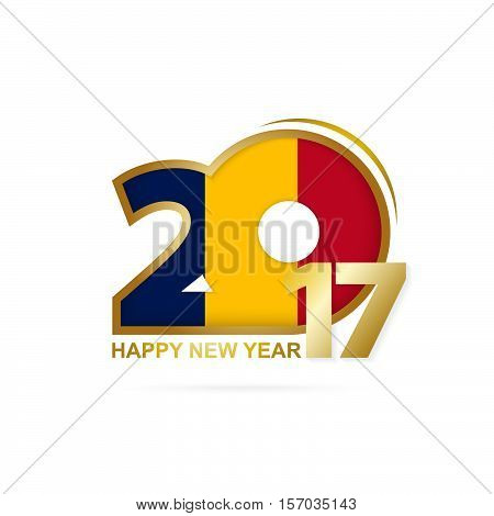 Year 2017 With Chad Flag Pattern. Happy New Year Design On White Background.