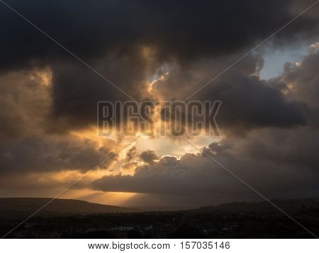 WHITBY ENGLAND - NOVEMBER 5: Dramatic sky and rainy weather. In Whitby North Yorkshire England. On 5th November 2016.