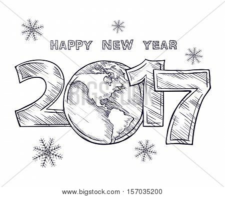 Happy New Year 2017  sketch. Globe outline drawing. Planet Earth. Calendar design typography vector illustration on a white background.