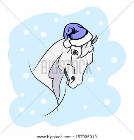 Horse in Santa hat.The head of the horse new year's holiday. Vector illustration