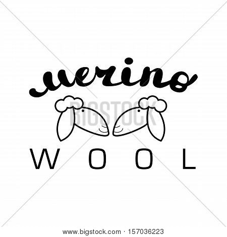 Black contour farm cartoon animal with a lettering inscription, Logo sheep vector animal, outline for product, sheep Wool labels, stickers and logos. knitting label set. hand knit logo.