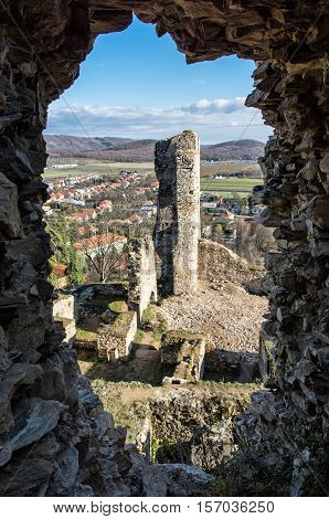 View from the ruins of Divin castle Slovak republic. Travel destination. Vertical composition. Beautiful place. Ancient architecture.