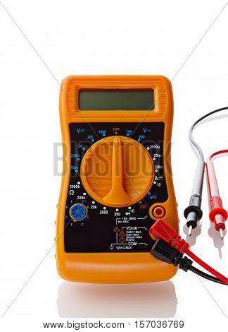 Multimeter assembled for measuring isolated on white background.