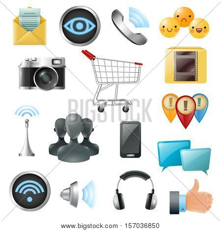 Social media symbols accessories equipment gleaming  icons collection with headphone cell phone like and emoji isolated vector illustration