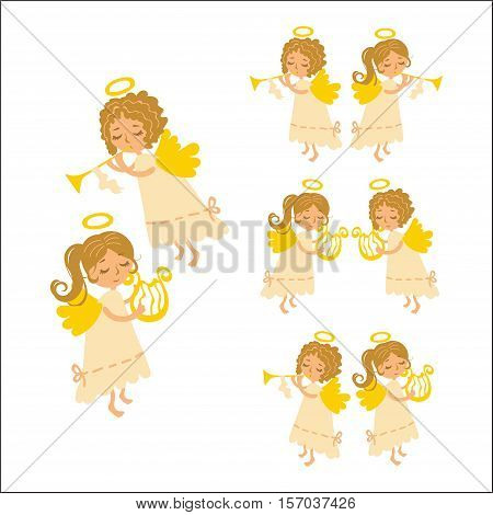 Vector set Christmas angels playing musical instruments. Muse angel with a harp and curly angel - Cupid with a pipe in a white dress.