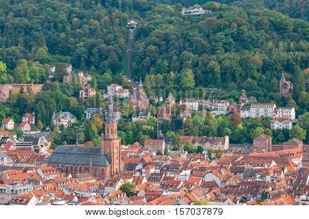 View over the red roofs of the old town of Heidelberg on the hill and the funicular railway