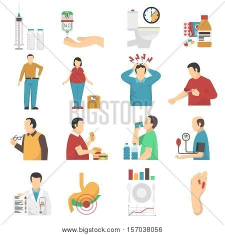 Diabetes symptoms icons set of people with weight disorders headaches suffering from thirst and overeating flat vector illustration
