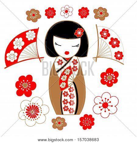 Cute illustration of a Japanese geisha, wearing a gold kimono, sakura flowers and fans.