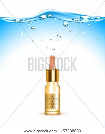 Collagen solution hydrating and moisturizing skin care cosmetic product advertisement with water background poster realistic vector illustration