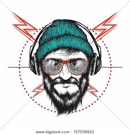 bearded man listening a music in headphones.Music fan .Vector label