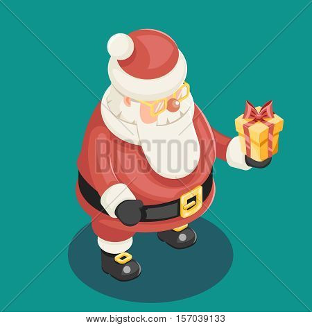 Cute Isometric Christmas Santa Claus Grandfather Frost Gift Box New Year Cartoon Flat Design Icon Template Vector Illustration