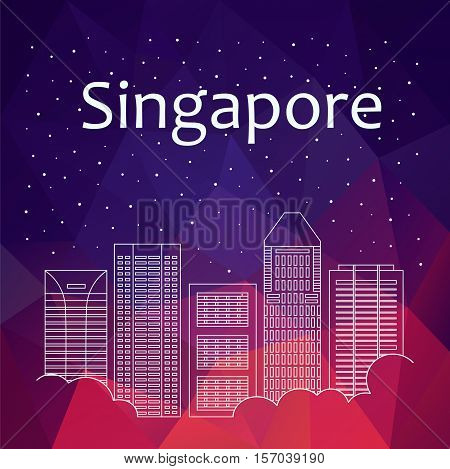 Singapore for banner poster illustration game background. Vector background Singapore - snow is falling. Night life of Singapore. Hackathon workshop training in Singapore. Holiday in Singapore