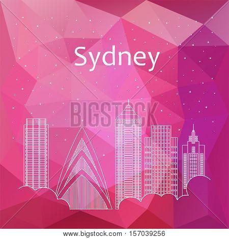 Sydney for banner poster illustration game background. Vector background Sydney - snow is falling. Night life of Sydney. Hackathon workshop training in Sydney. Holiday in Sydney