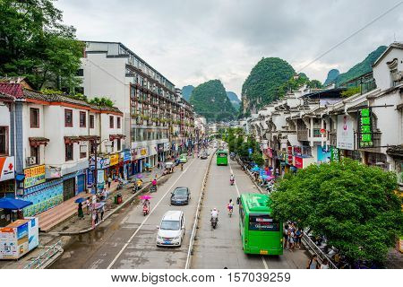 View Over Yangshuo Downtown, China