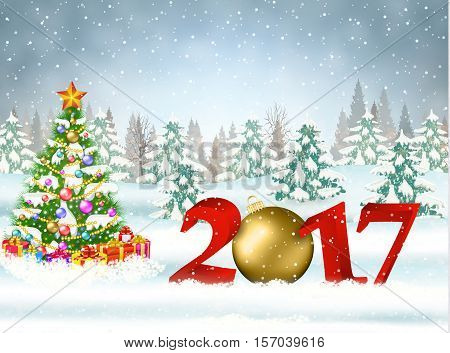 New year and Merry Christmas Winter background with christmas balls. 2017 with ball on nature background with Christmas tree