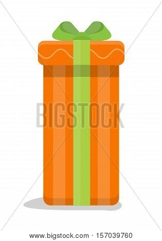 Christmas orange gift box with green bow isolated. Cartoon present in xmas holiday concept. Gift box surprise for anniversary or birthday. Funny illustration for children holiday celebration. Vector