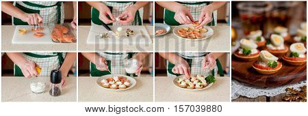 A Step By Step Collage Of Making Little Tarts Of Salmon