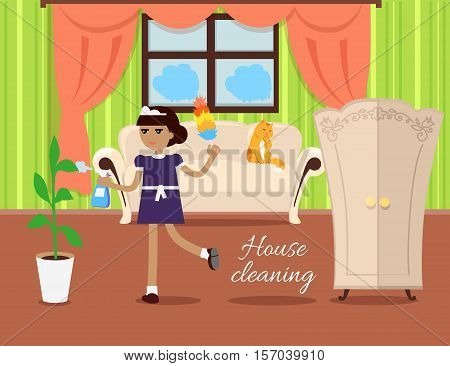 House cleaning vector in flat design. Maid with whisk dust and sprayer working in apartment. Home servants. Illustration for cleaning companies and services ad, home cosiness concepts.