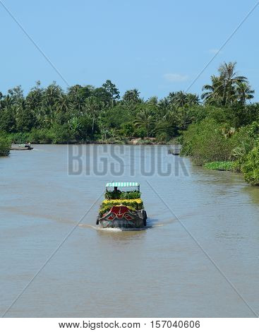 Boats On The Mekong River In Southern Vietnam