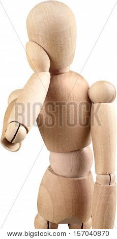 Wooden mannequin in a thinking or pondering pose