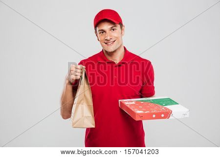 Pizza delivery man with bag. isolated gray background