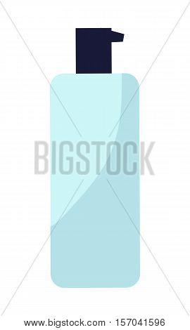 Blue plastic bottle of cream. Bottle of gel, liquid soap, lotion, cream, shampoo. Plastic bottle icon. Dispenser pump cosmetic icon. Isolated vector illustration on white background.