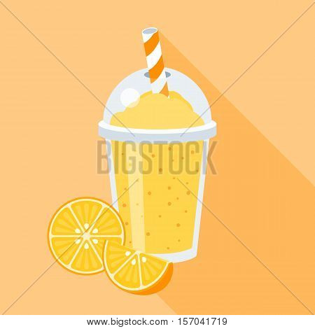 Orange smoothie vector illustration with fruits, Orange juice in plastic grass with straw, flat design with long shadow