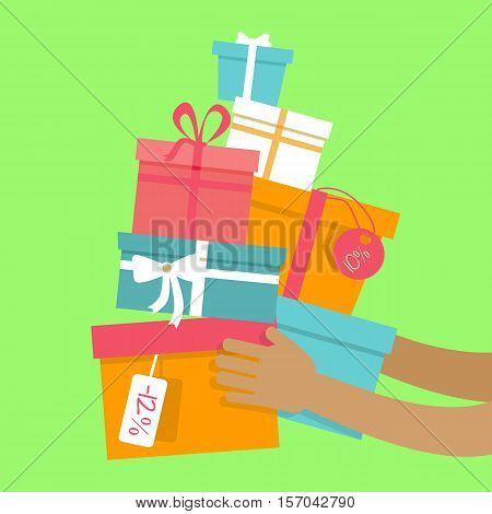Buying presents on sale concept. Color gift boxes with discounts tags in human hands flat vector illustration on orange background. Black friday. Winter holidays. For seasonal sales and promotions