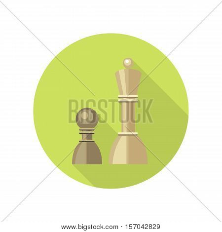 Strategic management icon. Two chess figures on green round background. Planning workflow, algorithm for development process, structure of operation. Vector illustration in flat design