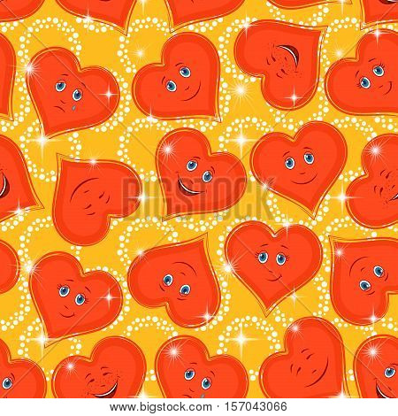 Seamless Valentine Holiday Pattern, Red Cartoon Hearts, Faces with Different Emotions, Funny and Sad, Laughing and Weeping on Abstract Background. Eps10, Contains Transparencies. Vector
