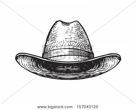 Hat farmer, gardener or cowboy. Sketch vector isolated on white background