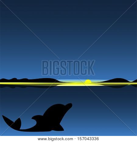 Dolphin sea animal night landscape. Art vector illustration.