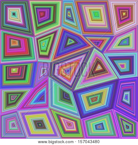 Colorful abstract concentric rectangle puzzle mosaic background