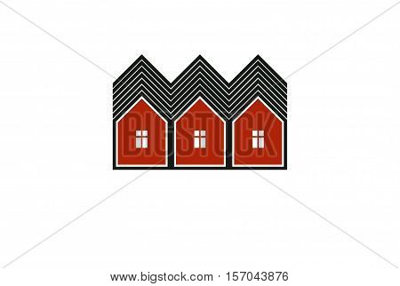 Simple cottages vector illustration country houses for use in graphic design. Real estate concept region or district theme. Building company abstract corporate image.