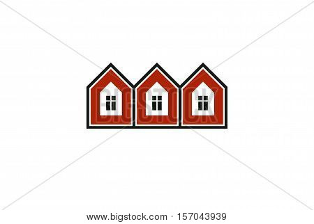 Simple cottages vector illustration country houses for use in graphic design. Real estate
